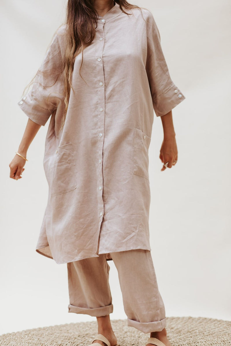 Aquarian Gown + Mona Pant Set (100% Linen, Royal Lavender)