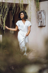 Rey Playsuit (100% Linen, White, Pre-Order)