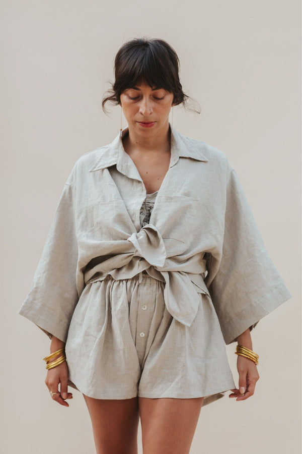 Nidra Button-down Set (Button Down Top + Nidra Flax Linen Short)