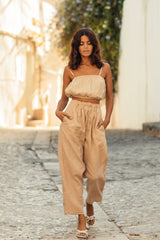 Barcelona Top + Mona Pant Set (100% Linen, Clay)