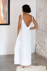 "Radiant Gown ""low V neck/back"" (100% White Linen)"