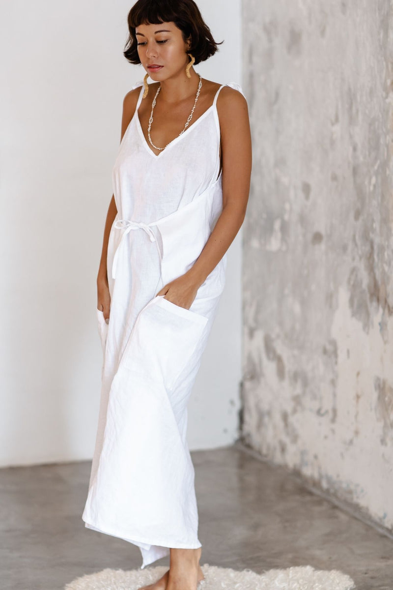 Radiant Gown (100% Linen, v neck, White)