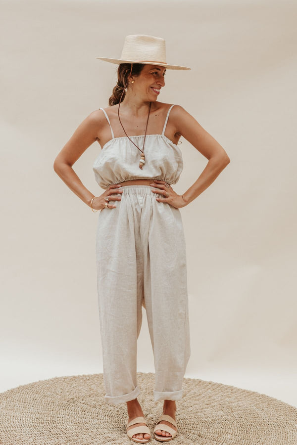 Barcelona Crop Top + Mona Pant Set (100%  Linen, Light Flax)