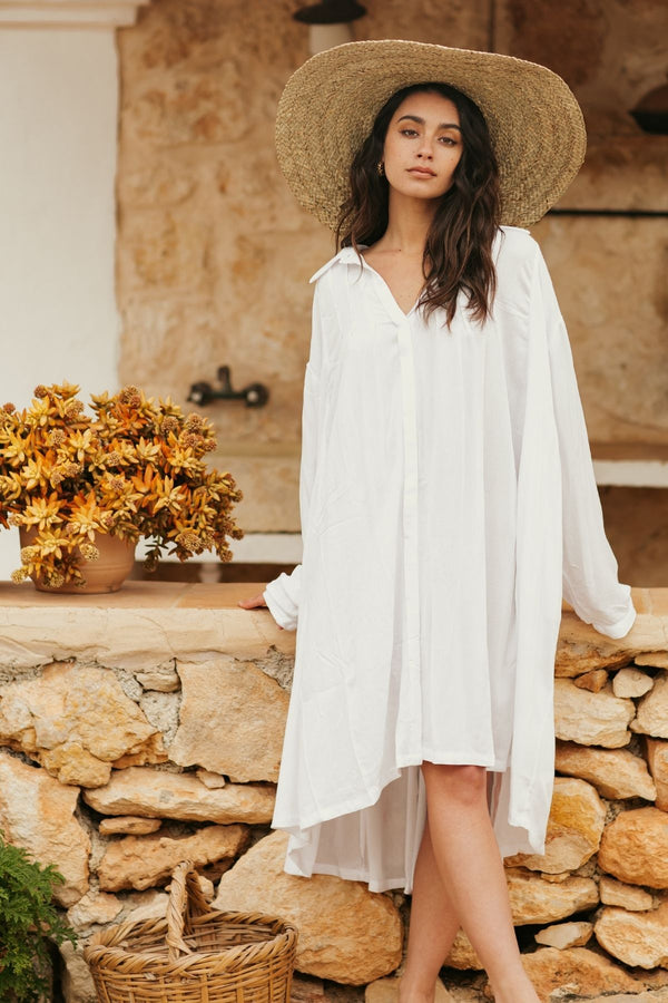 Kundalini Gown Short (100% Bamboo Rayon, Off-White)