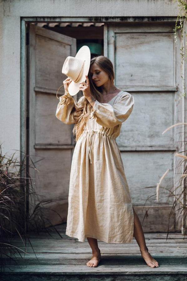 Valentina Dress (100% Linen, Spring Clay, Pre-Order)