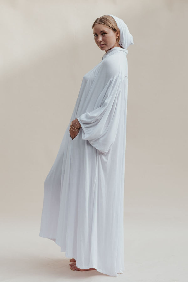Seashell Edition Billowing Sleeve Kundalini Gown Set with Belt + Head Wrap (100% Bamboo Rayon)