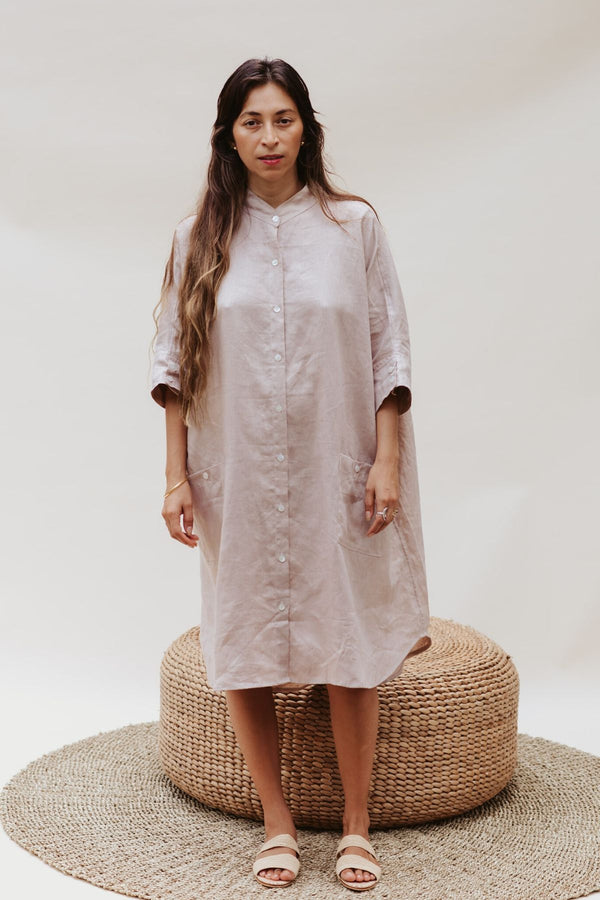 Aquarian Gown (100% Linen, Royal Lavender/Nude)