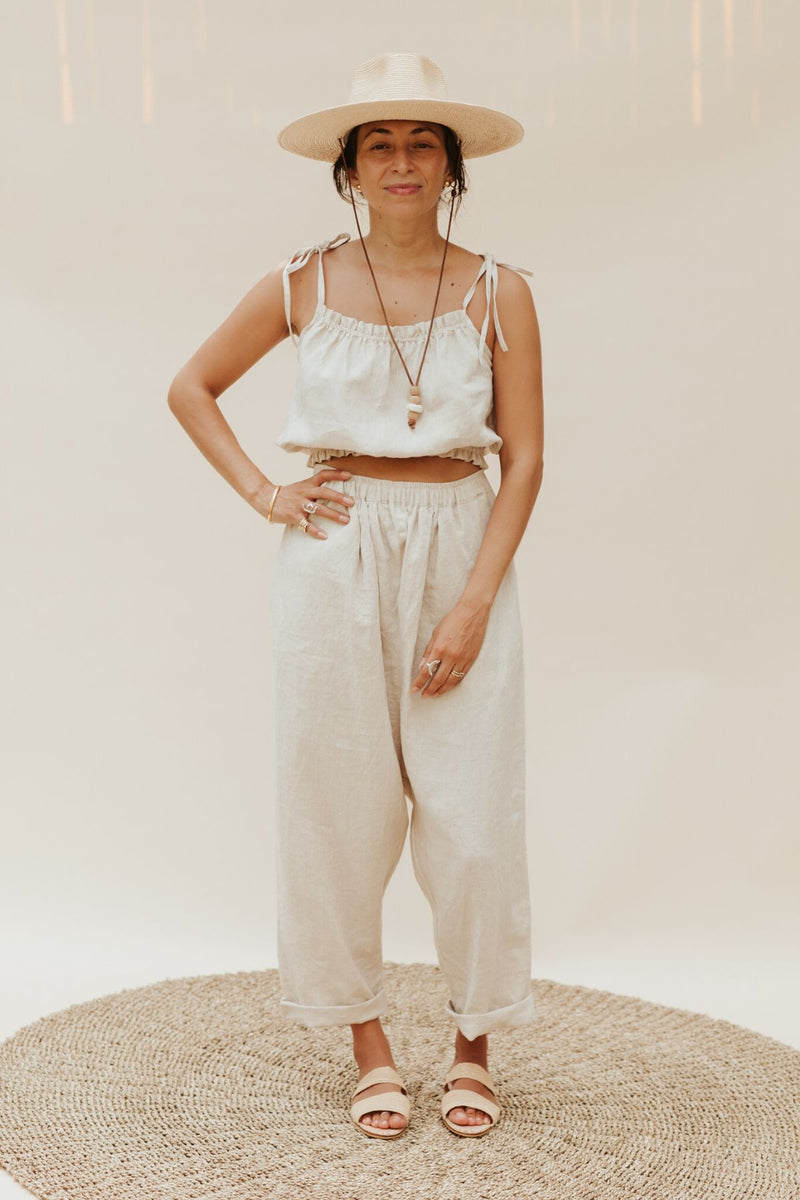 Mona Top + Mona Pant Set (100% Linen, Light Flax)