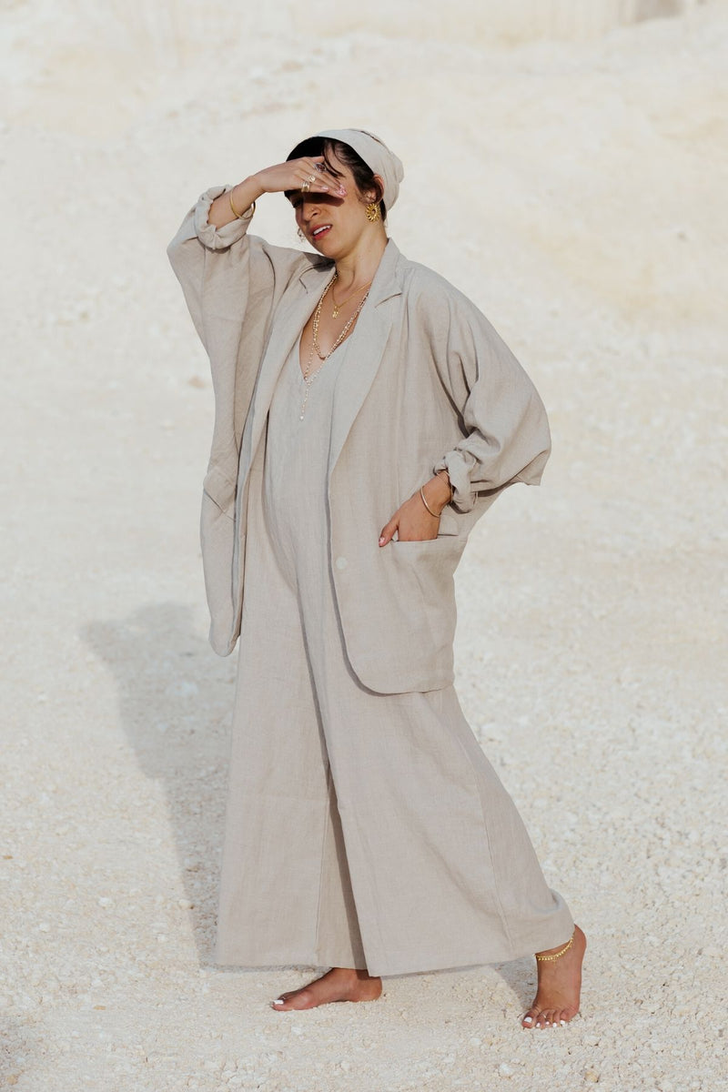 The Regal Set: Eagle Blazer + Kundalini Playsuit + Tara Head Wrap (100% Linen, Flax)