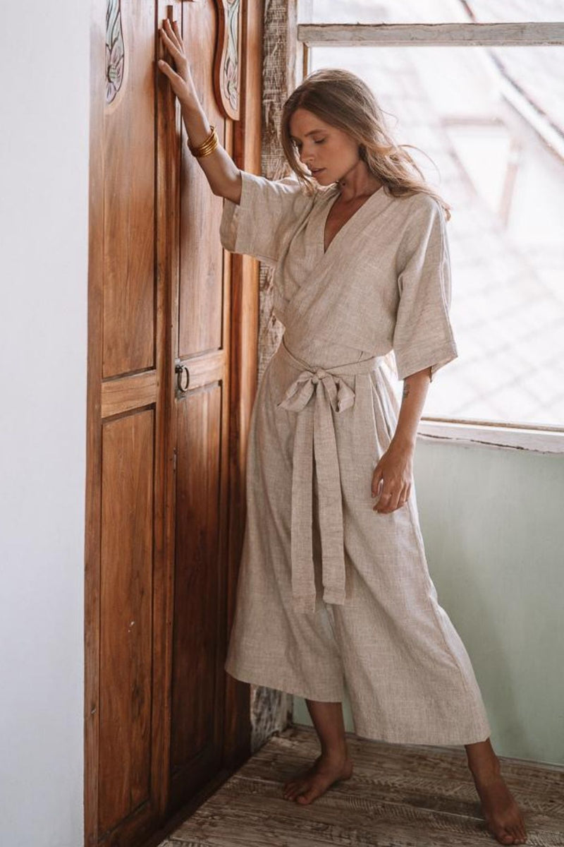 Magdalena Playsuit (100% Light Flax Linen)
