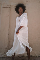 La Playa Dress with belt (Crinkle Linen, White)