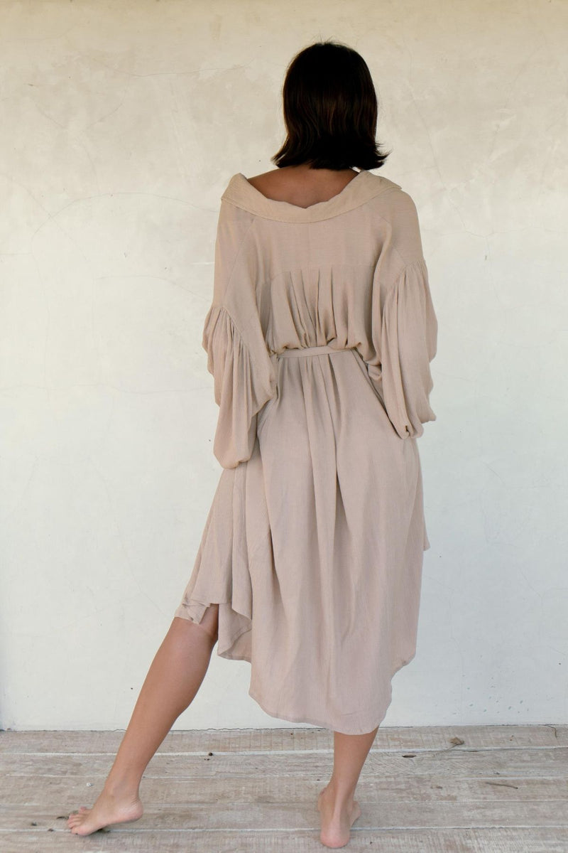 Billowing Sleeve Kundalini Gown Short with Belt (Seashell white or Clay) Pre-Order Allow 2 weeks