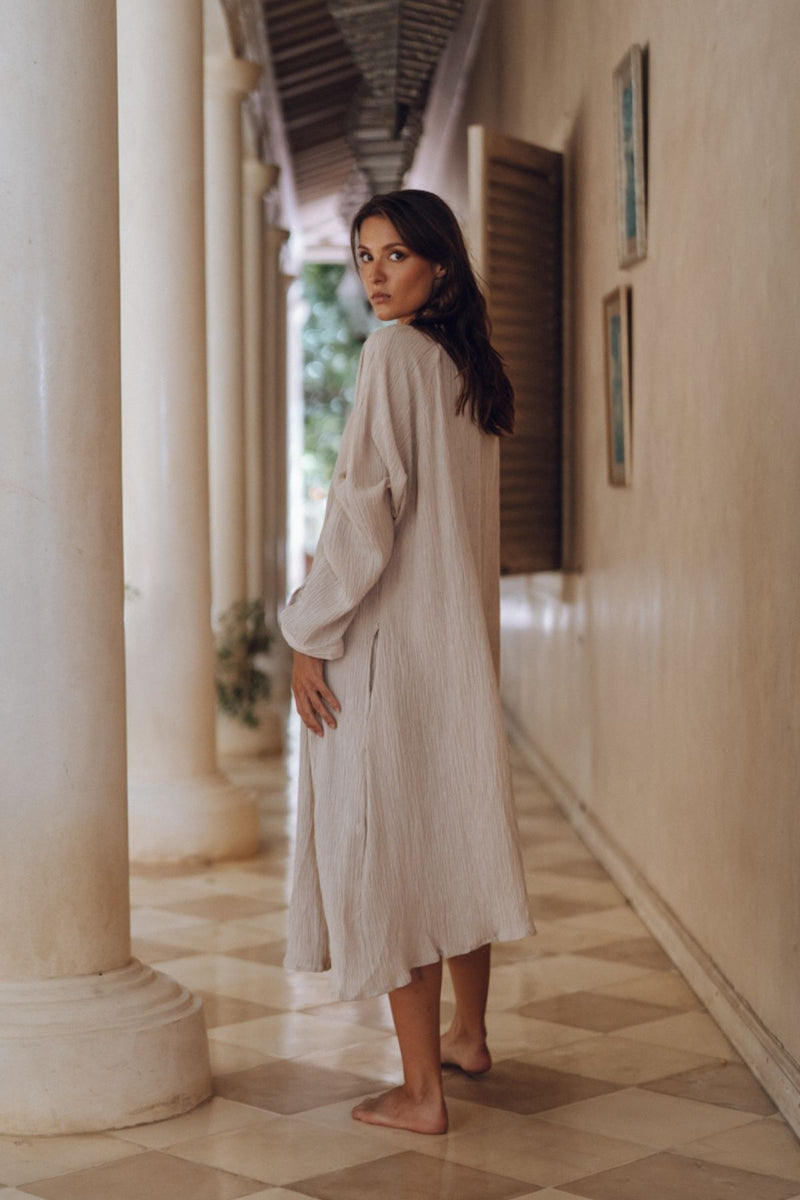 FRIDA Gown Short (100% Linen / Cotton Luxe, Light Flax or White)