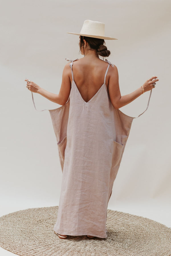 "Radiant Gown ""low V neck/back"" (100% Royal Lavender/Nude Linen)"