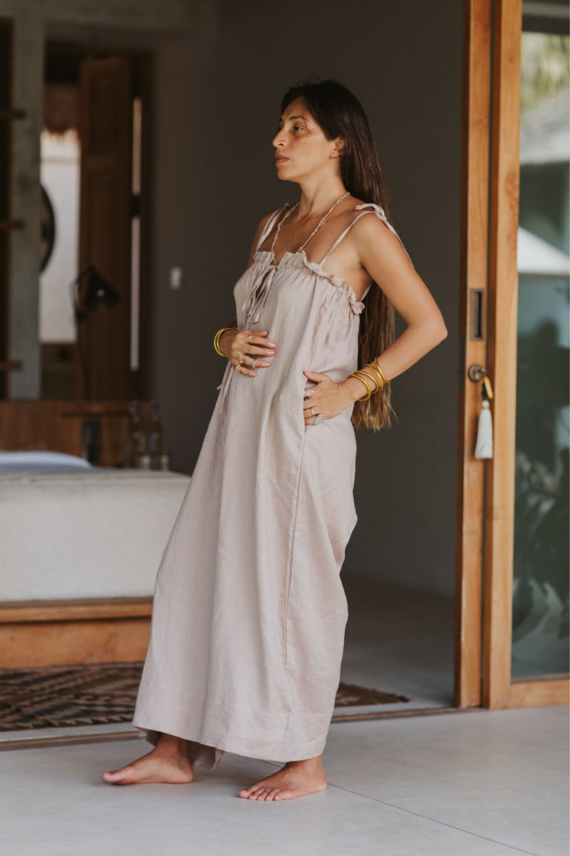 La Palma Playsuit (100% Linen, Royal Lavender/Nude)