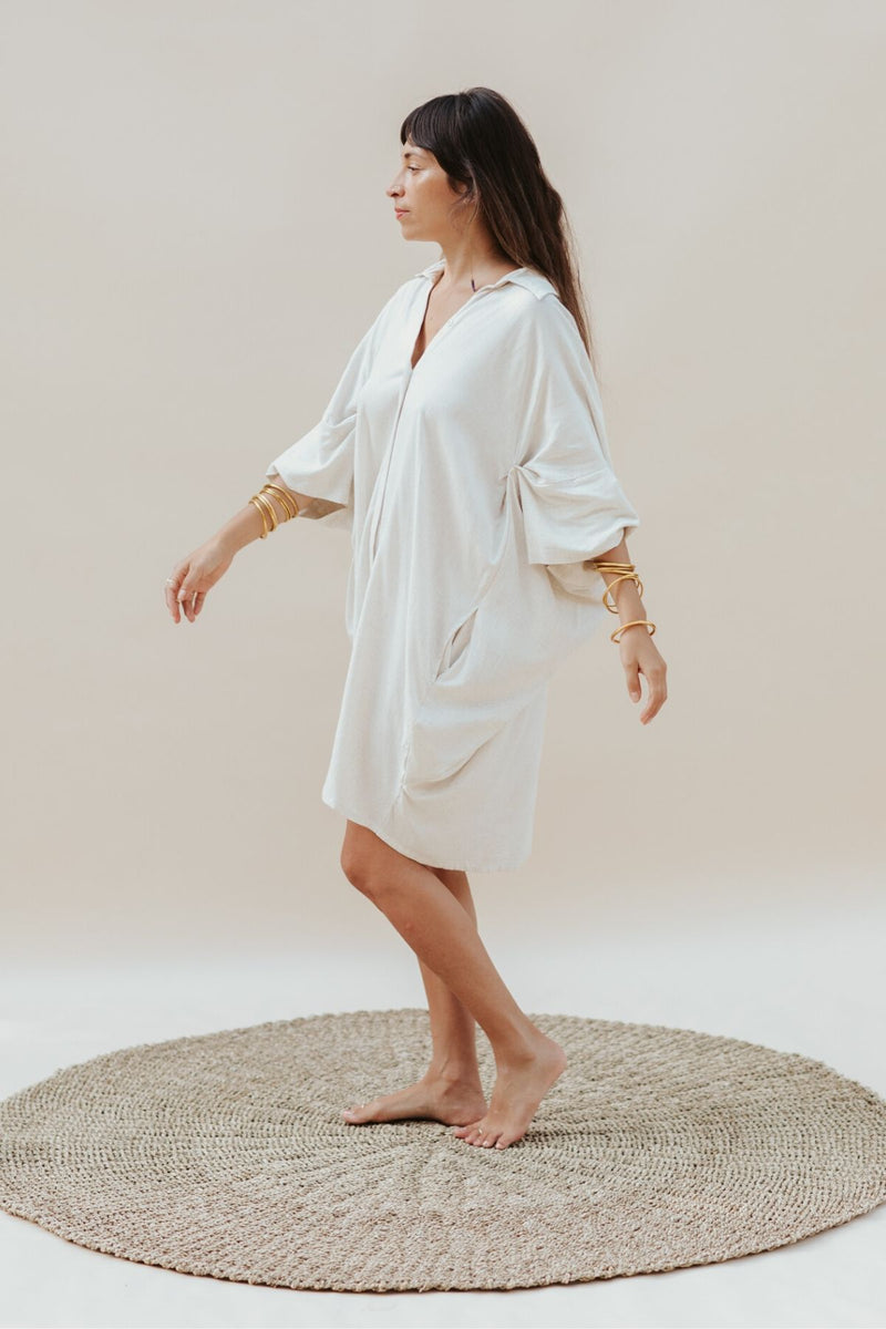 Origami Gown - Natural Linen / Rayon