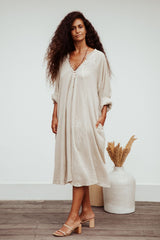 Limited Edition FRIDA Gown Short (100% Crinkle Linen / Cotton, Flax)
