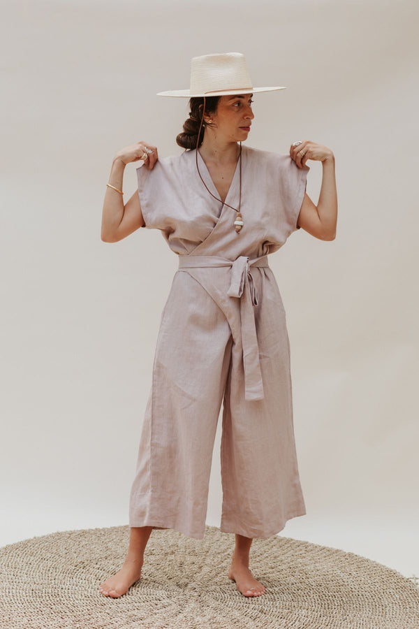 Limited Edition Rey Playsuit (100% Linen, Royal Lavender/Nude)