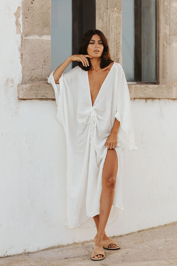 Virgo Kaftan (Linen/Cotton Luxe, Seashell white, Pre-Order Allow 2 Weeks)