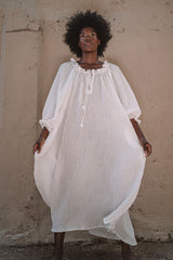 La Playa Dress (Crinkle Linen, White, Pre-Order)