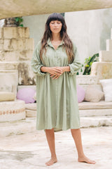 Kundalini Gown Short (Linen / Rayon Blend) RoseMary Green