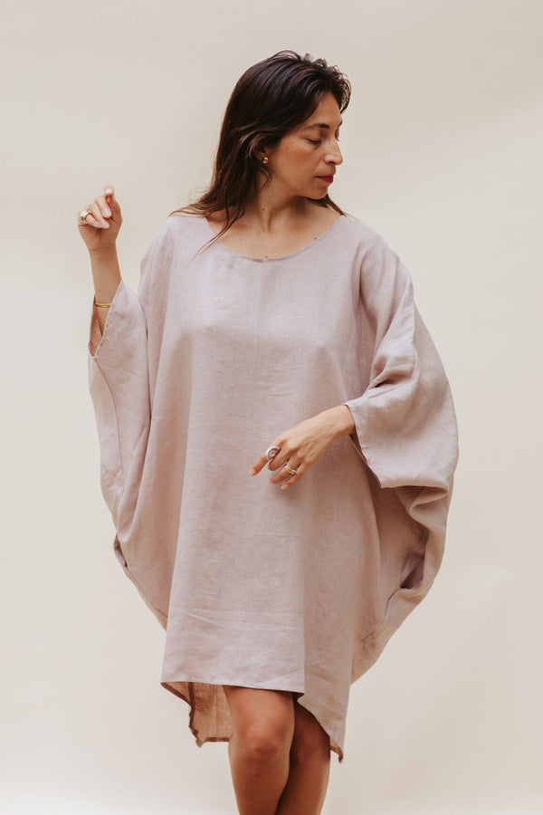 Royal Lavender Butterfly Tunic (100% Linen, Limited Spring Edition)