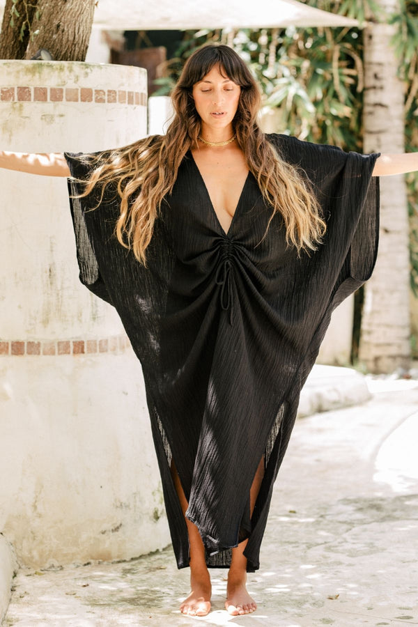 Dark Moon Virgo Kaftan (Linen/Cotton Luxe, Black, Pre-Order Allow 2 Weeks)