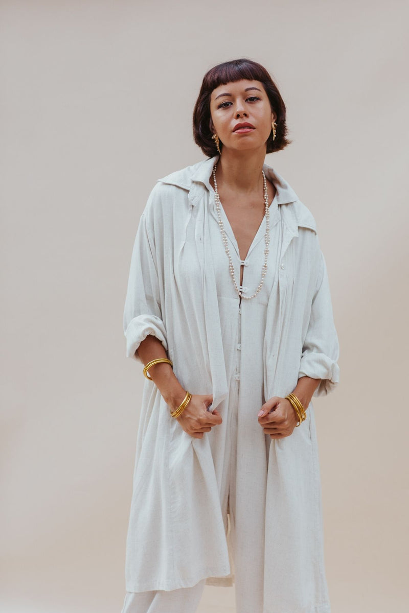 Kundalini Crown Set: Sat Torri Playsuit + Kundalini Gown Short (Linen / Rayon Blend, Light Beige)