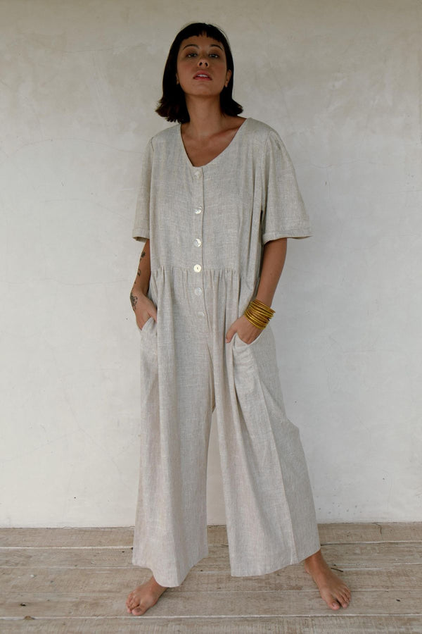 Lila Playsuit (100% Raw Linen, Light Flax) - Limited Edition