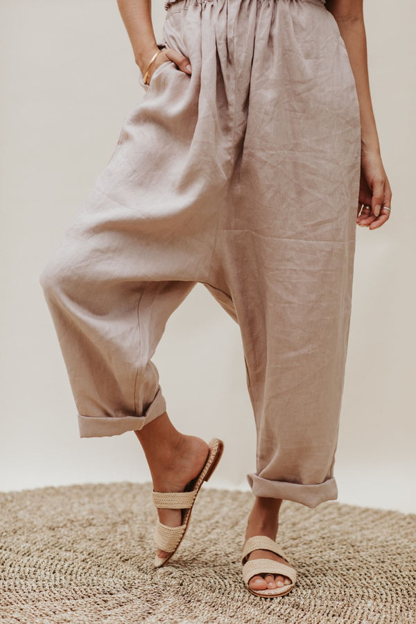 Mona Pant (100% Linen, available in lavender, white or flax)