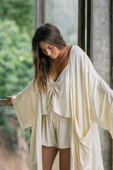 Trinity Kimono Short + Nidra Top/Short Set (Gold, Silk/Satin, Pre-Order Allow 2 Weeks)