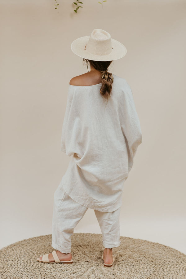 La Tierra Butterfly Tunic + Mona Pant Set (100% Linen, Light Flax)