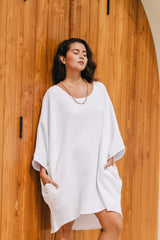 Butterfly Tunic (White/Waffle cotton, Pre-Order Allow 2 Weeks)