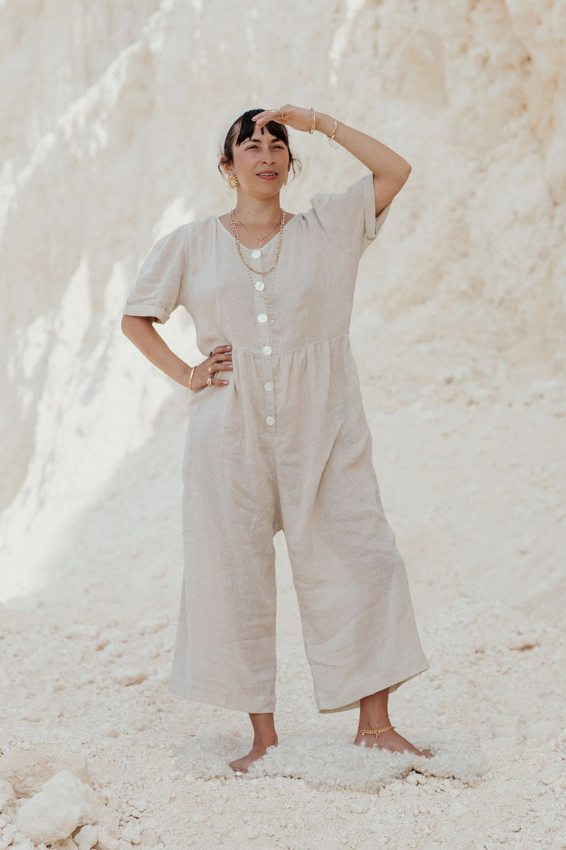 Lila Playsuit (100% Linen, White)