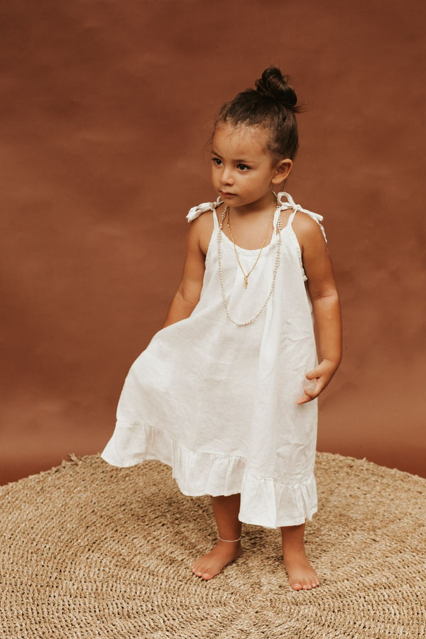Toddler Mini Maiden Gown Short 2-4T (100% Linen, Off-White)