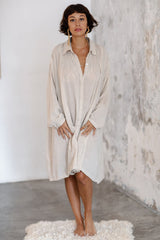 Kundalini Gown Short (Cotton / Linen Blend, Flax)