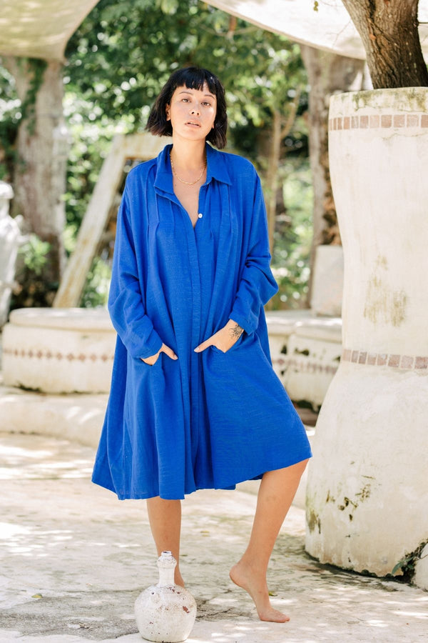 Kundalini Gown Short (Linen / Rayon Blend) Light Indigo PRE-ORDER