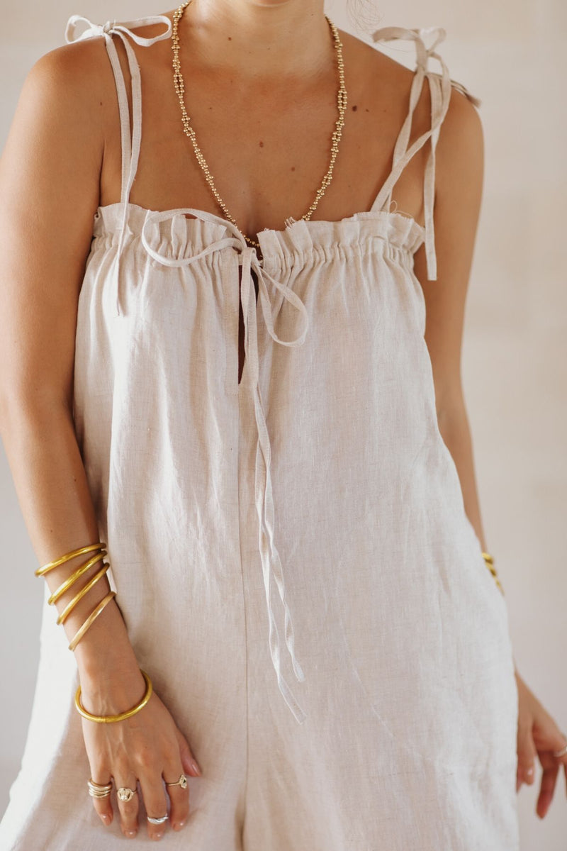 La Palma Playsuit (100% Linen, Light Flax)