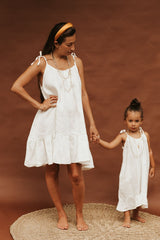 Baby Maiden Gown Short 2-4T (100% Linen, Off-White)