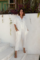 Sat Torri Playsuit (100% Linen, White)