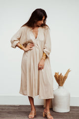 FRIDA Gown Short (100% Bamboo Rayon, Spring Clay)