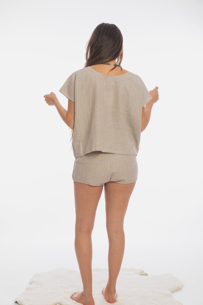 Sadhana Top & Short Set (100% Linen, Flax Beige)