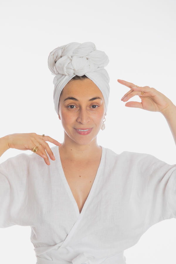 White Tara Head Wrap (100% Linen)