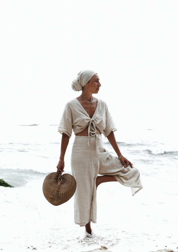 Tara Two Piece  (Natural Linen) + Head Wrap Set