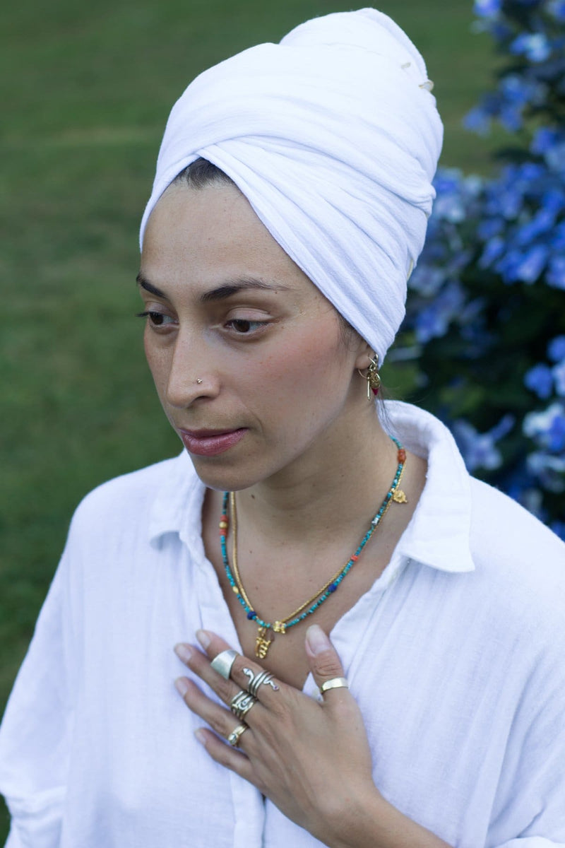 Golden Chain - White Turban - Accessories - Myrah Penaloza