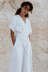 Magdalena Playsuit 100% Linen / White