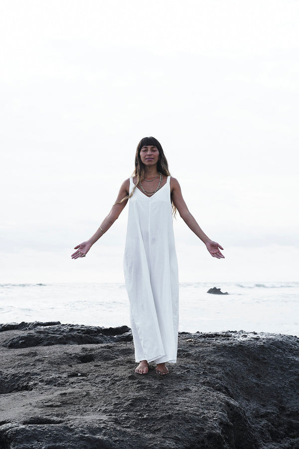 Kundalini Playsuit (White Rayon/Linen Blend)