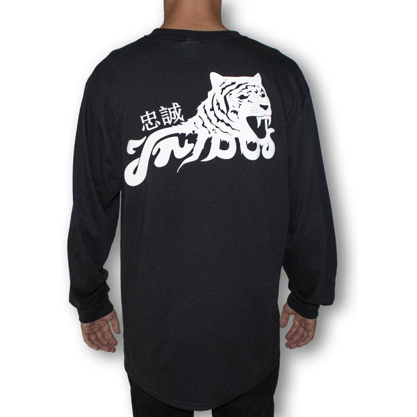 Tribus Loyalty Japanese Tiger Long Sleeve Shirt - Black
