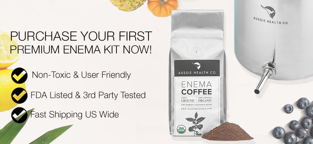 Enema coffee package and text near it - Purchase your first premium enema kit now