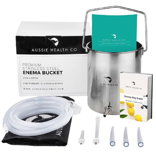 Non-Toxic Stainless Steel Enema Bucket Kit front view